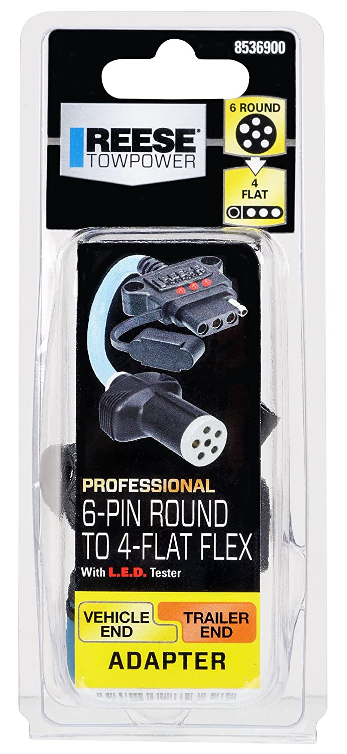 Reese Towpower Black 8536900 Professional 6-Pin to 4-Flat Flex Adapter with LED Tester
