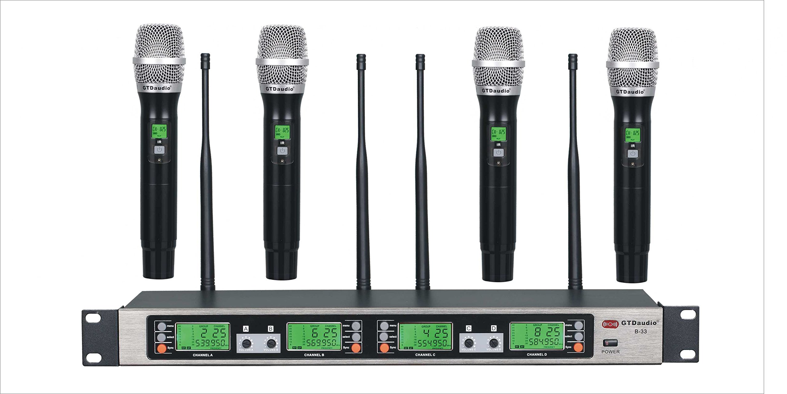 GTD Audio B-33 UHF 4 x100 Selectable Frequency Channel Professional 4 Wireless microphone Mic System