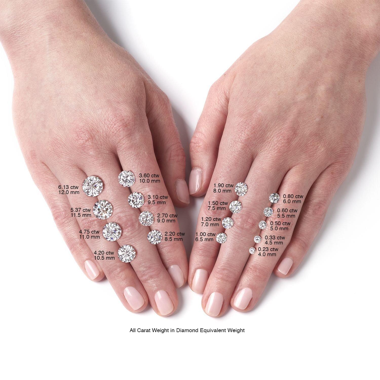 Amazon.com: Forever Brilliant Round 9.0mm Moissanite Engagement Ring ...