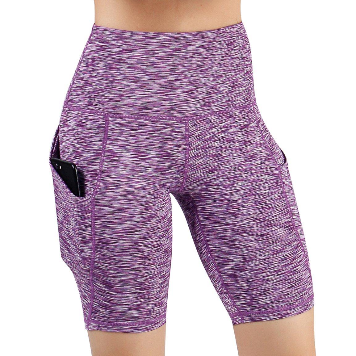 Yogapocketshots626spacedyepurple ODODOS High Waist Out Pocket Yoga Short Tummy Control Workout Running Athletic Non SeeThrough Yoga Shorts