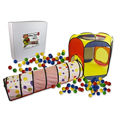 Right Track Toys Play Tent with 100 Balls and Tunnel- Indoor and Outdoor Easy Folding Ball Pit with Carrying Case: Toys & Games
