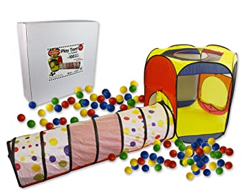 Play Tent with 100 Balls and Tunnel- Indoor and Outdoor Easy Folding Ball Pit with  sc 1 st  Amazon.com & Amazon.com: Play Tent with 100 Balls and Tunnel- Indoor and ...