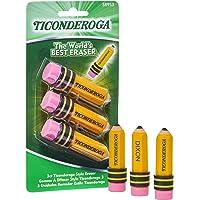 TICONDEROGA Erasers, Pencil Shaped, Latex-Free, Yellow, 3-Pack (38953)