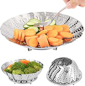 Steamer Basket, Stainless Steel Vegetable Folding Steam Baskets Expandable To Fit Various Size Pot (5.5 to 9 inch), Steaming Insert For Cooking Veggie Fish Seafood Eggs Instant Pot