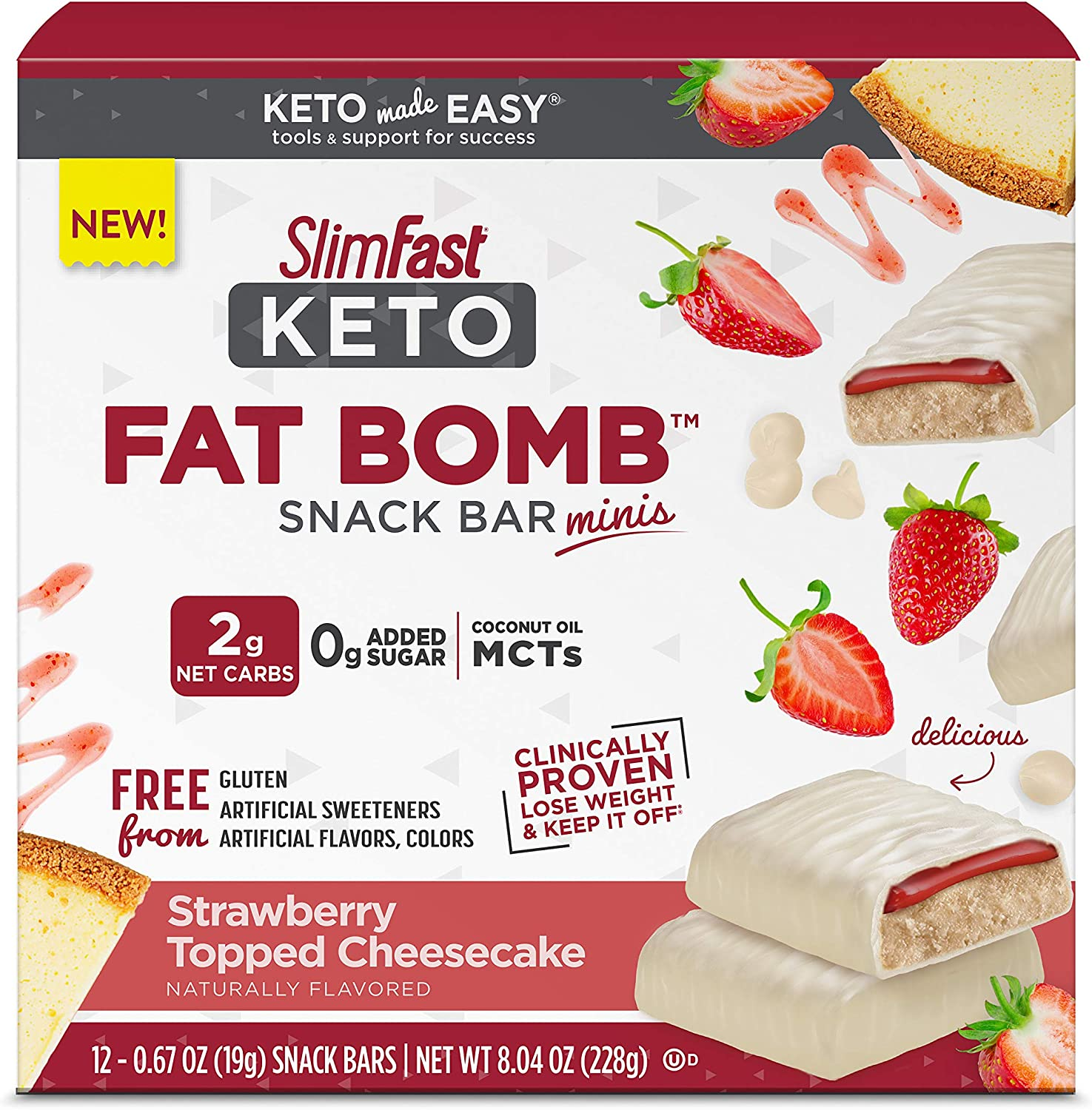 SlimFast Keto Fat Bomb Snack Bar Minis - Strawberry Topped Cheesecake - 12 Count Box - Pantry Friendly