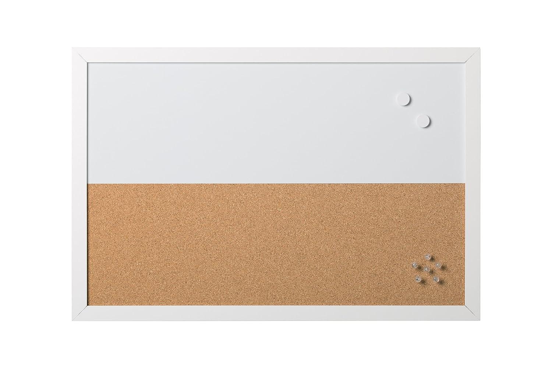Bi-Office - Combo Pizarra Blanca y Tablón de Anuncios Elements, Magnético, Borrado en Seco/Corcho, Marco MDF Blanco, 60x40cm