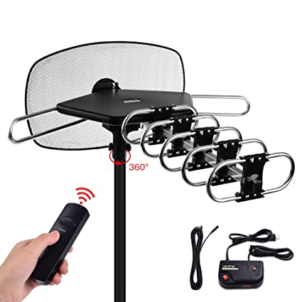 TV Antenna - Mesqool Amplified Outdoor Digital HDTV Antenna 150 Mile Range  Motorized 360 Degree Rotation Wireless Remote Control for 2 TVs Support,