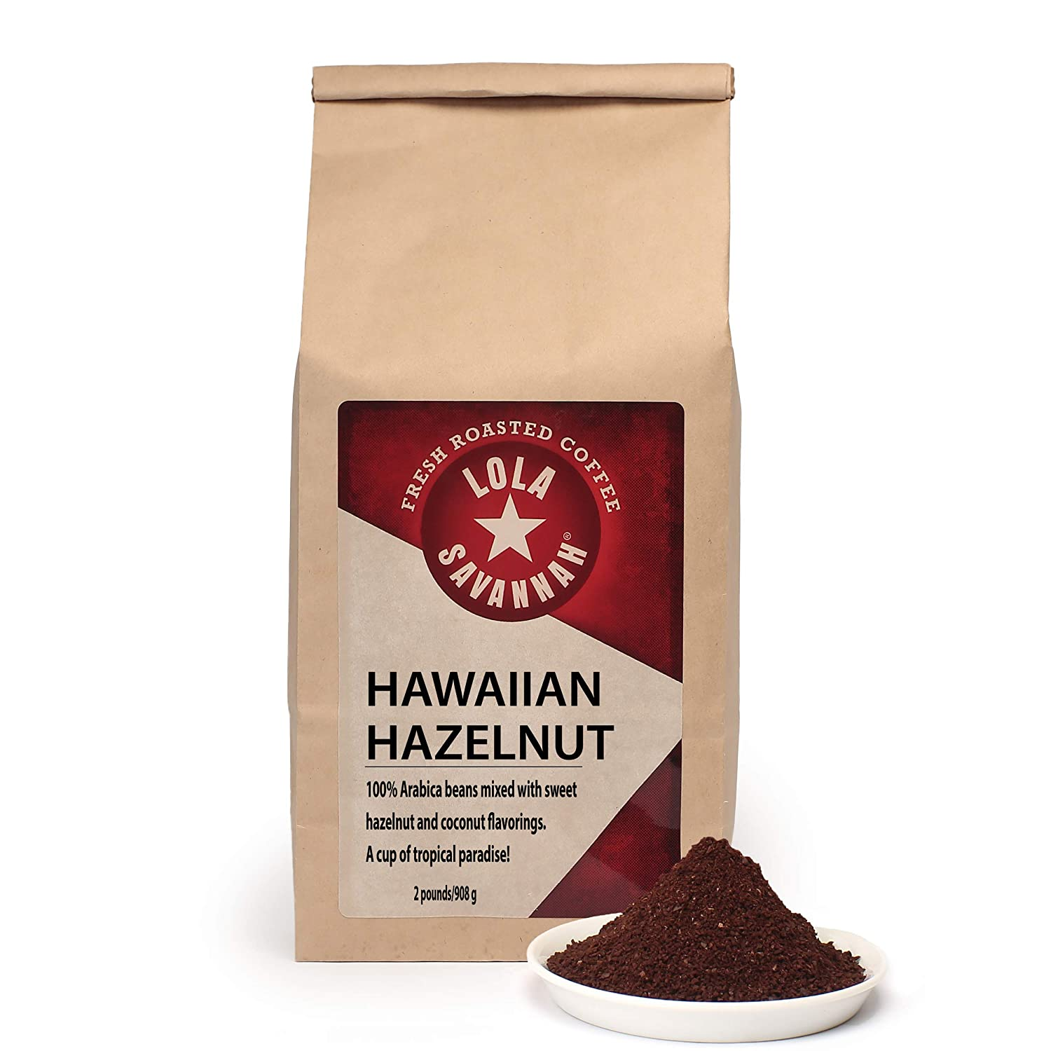 Lola Savannah Hawaiian Hazelnut Ground Coffee - Tropical Inspired Blend Infused with Buttery Hazelnuts and a Milky Sweet Note from Coconuts, Caffeinated, 2lb Bag