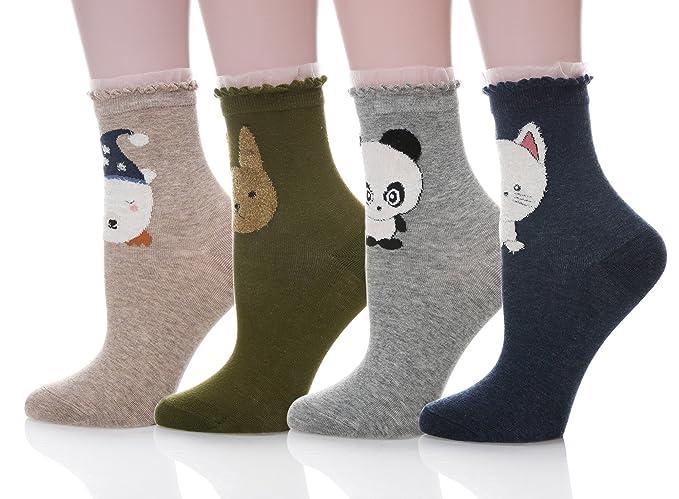 13bd061de2414 SDBING Women Girl Novelty Cool Animal Fun Crazy Cotton Socks (Lace Animal  B01)