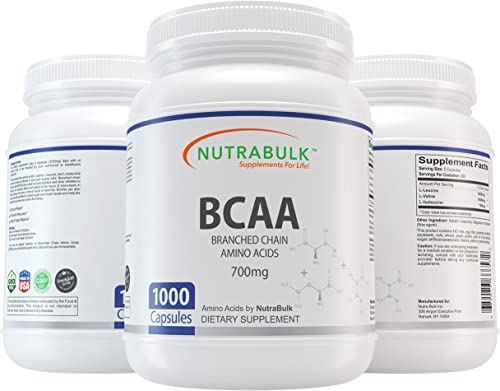 NutraBulk Premium BCAA Branched-Chain Amino Acid 700mg Capsules – 1000 Count