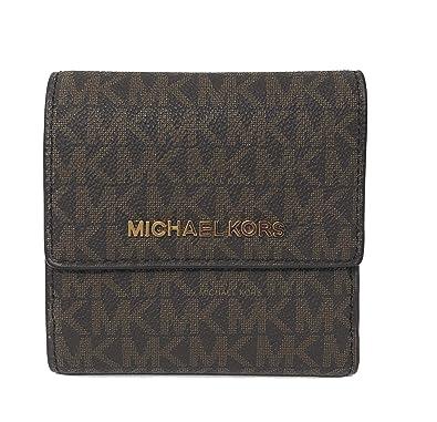 56dec9babb80 Amazon.com: Michael Kors Jet Set Travel PVC Signature Small Card Case Trifold  Wallet in Brown/Acorn: Shoes