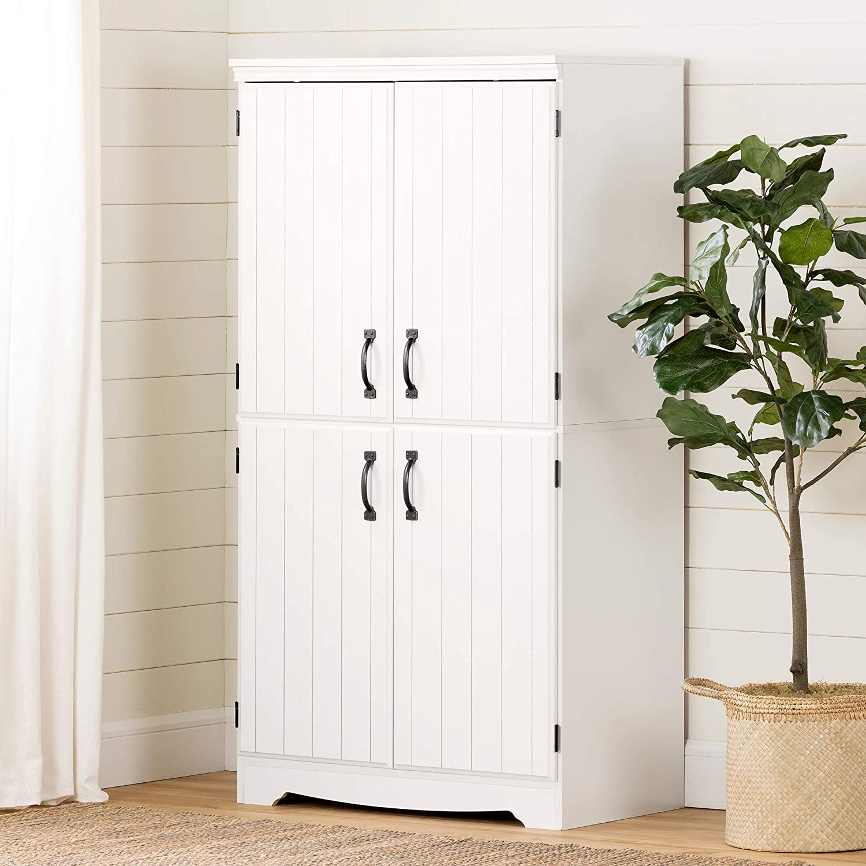 South Shore Farnel 4-Door Storage Cabinet-Pure White, Tall