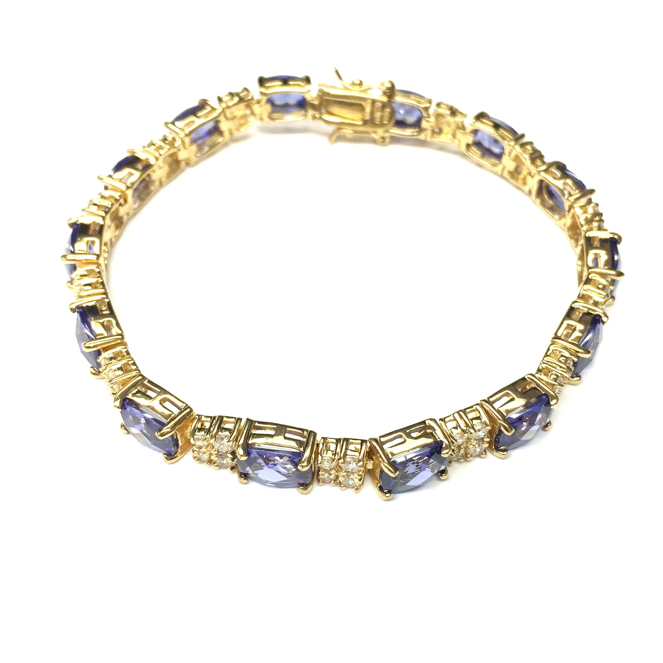 Sterling Silver Gold Plated Fancy Cut Tanzanite Cz Bracelet by Travel Jewelry (Image #2)