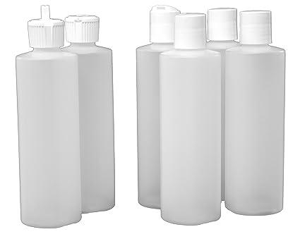 J&S - Plastic Squeeze Bottles for Liquids with 2 Types of Dispenser Caps -  8 Oz - 6 Pack – 4 Flip Disc and 2 Flip Spout - BPA Free Plastic