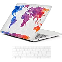 iCasso Ultra Slim Rubberized Durable Matte Case with Keyboard Cover for MacBook Pro 13 (World Map)