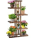 Giantex Flower Rack Wood Plant Stand 7 Wood Shelves 11 Pots Bonsai Display Shelf Indoor Outdoor Yard Garden Patio Balcony Liv