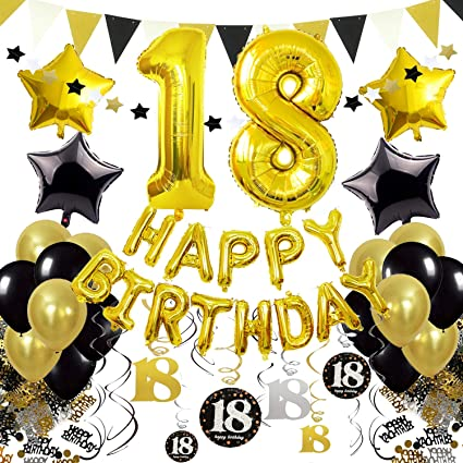 Cocodeko 18th Birthday Decorations Black Gold Happy Balloons Number 18 Star Foil