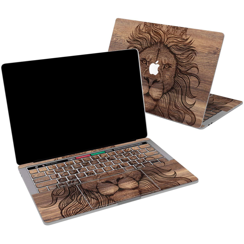 Lex Altern Vinyl Skin for MacBook Air 13 inch Mac Pro 15 Retina 12 11 2019 2018 2017 2016 2015 Lion King Brown Wooden Royal Animal Art Men Trendy Decal Sticker Touch Bar Wrap Design Cover Keyboard
