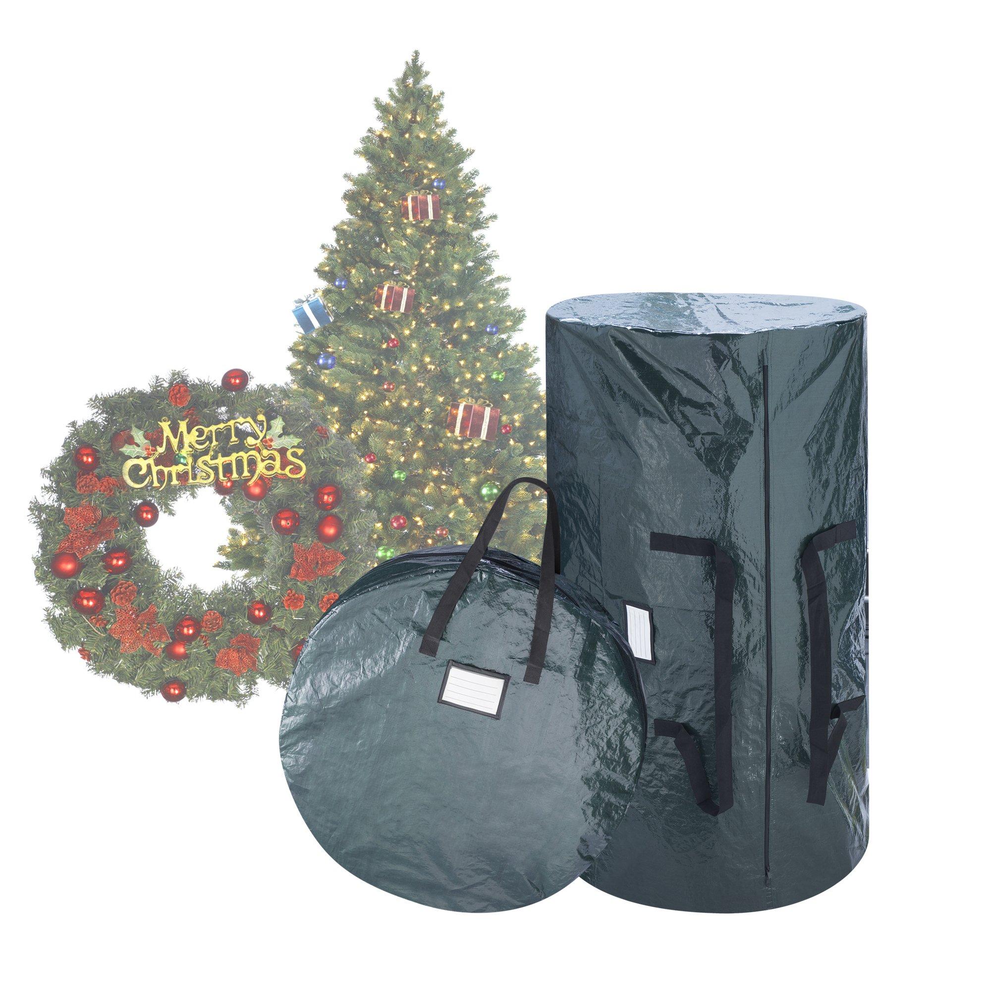Elf Stor Deluxe Green Christmas Tree Storage Bag & 30'' Inch Wreath Bag