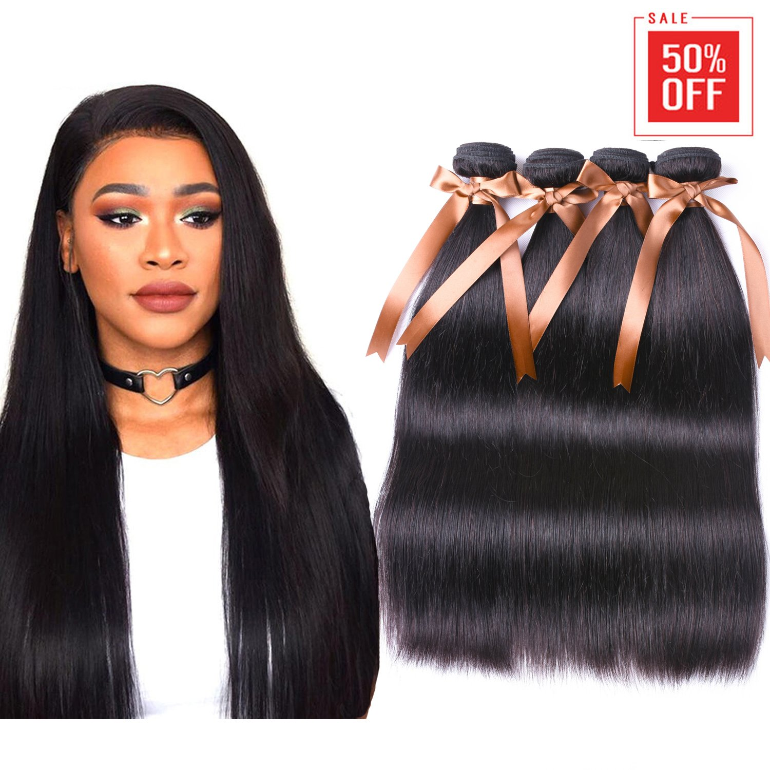 ALLRUN Hair Brazilian Straight Virgin Hair 3 Bundles With Free Part Closure Human Hair Bundles with Closure 100% Unprocessed Human Hair Bundles Hair Extensions Natural Color(22 24 26+20'' Closure)