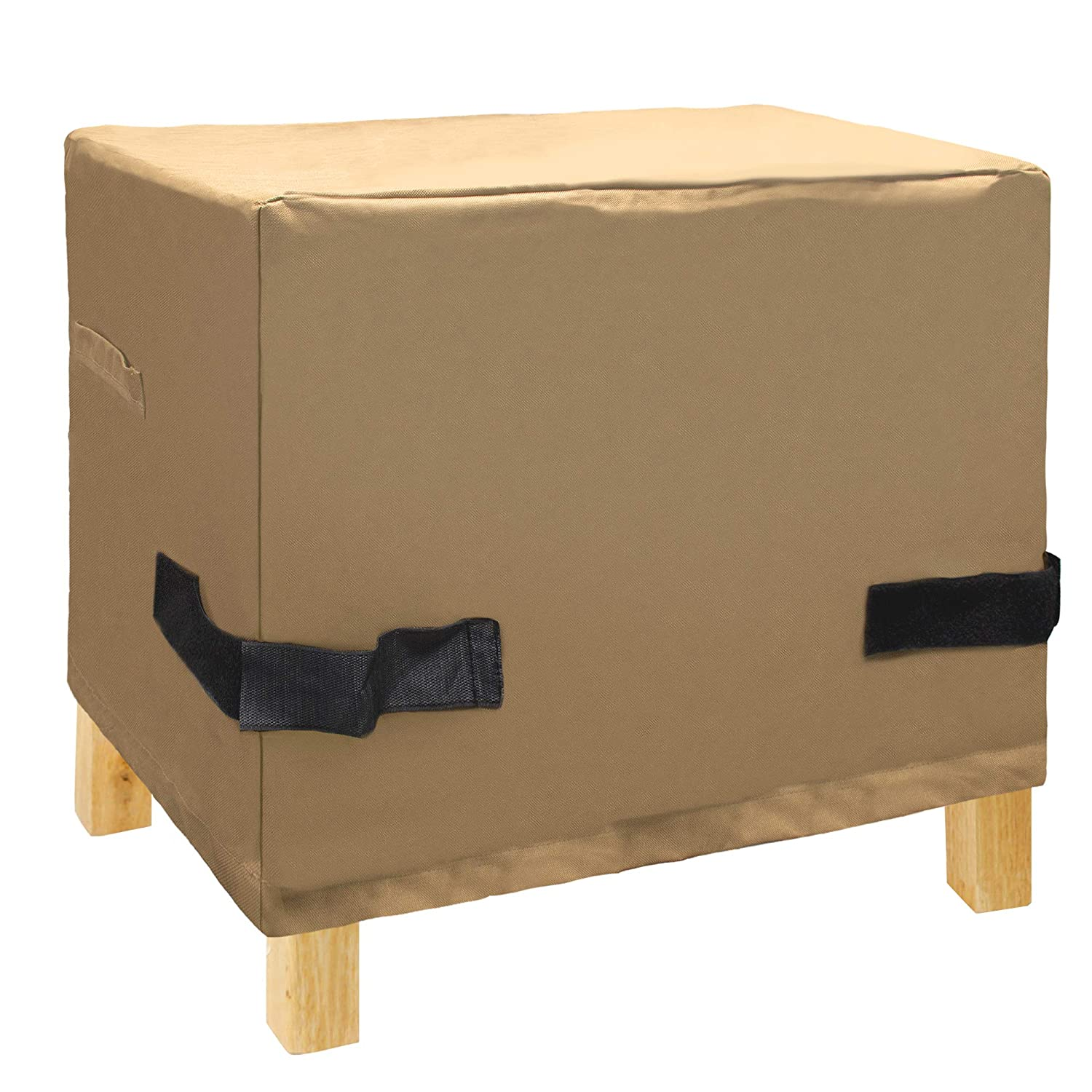 NEXTCOVER Patio Ottoman Side Table cover-600D Canvas Heavy Duty Waterproof Fade Resistant, Tan Color,NP21825A.