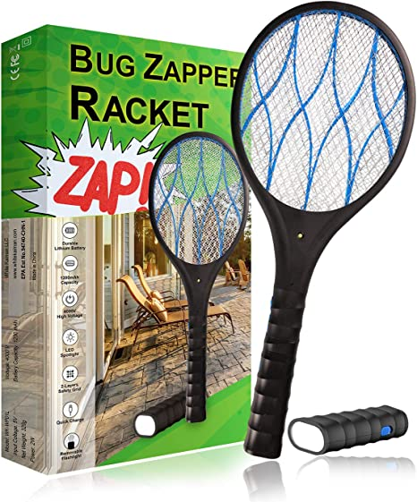 White Kaiman Electric Fly Swatter Racket w/ Detachable Flashlight Handheld Personal Bug Zapper Mosquito Zapper Rechargeable 3 Layer Electric Grid 4000 Volts (Black)