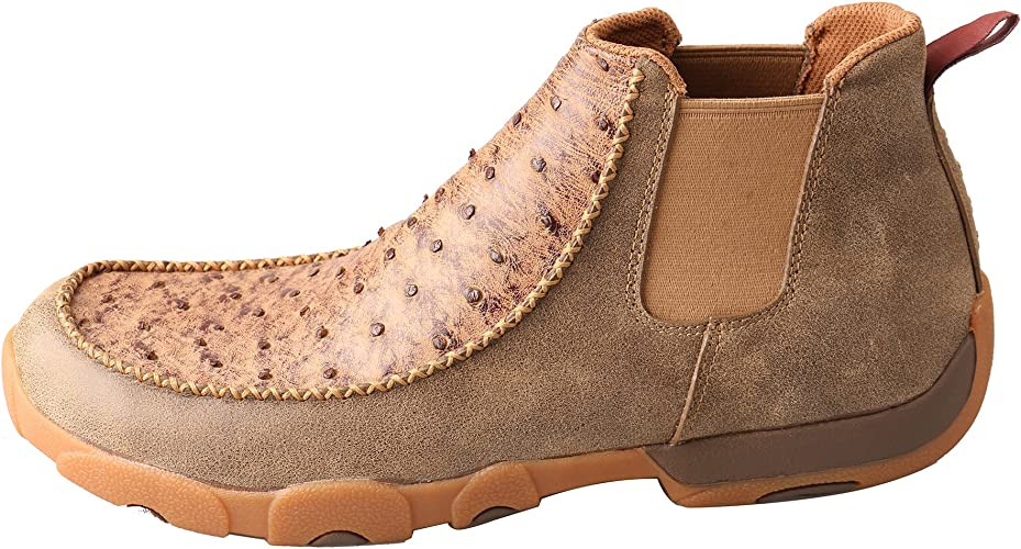 Twisted X Men/'s Brown Ostrich Driving Moc Shoes MDMG003