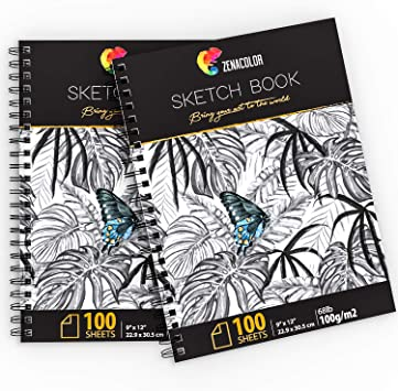 Multi-color 12 Sheets Watercolor Paper Sketch Book Set Drawing Sketchbook