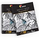 """⭐ Set di 2 Album Disegno Professionale, A4 (9""""x12"""") con Spirale - 200 x Fogli Bianchi (100 g) - Quaderni da Disegno con Copertina Rigida - Blocco di Pagine Vuote per Disegnare, Scarabocchiare"""