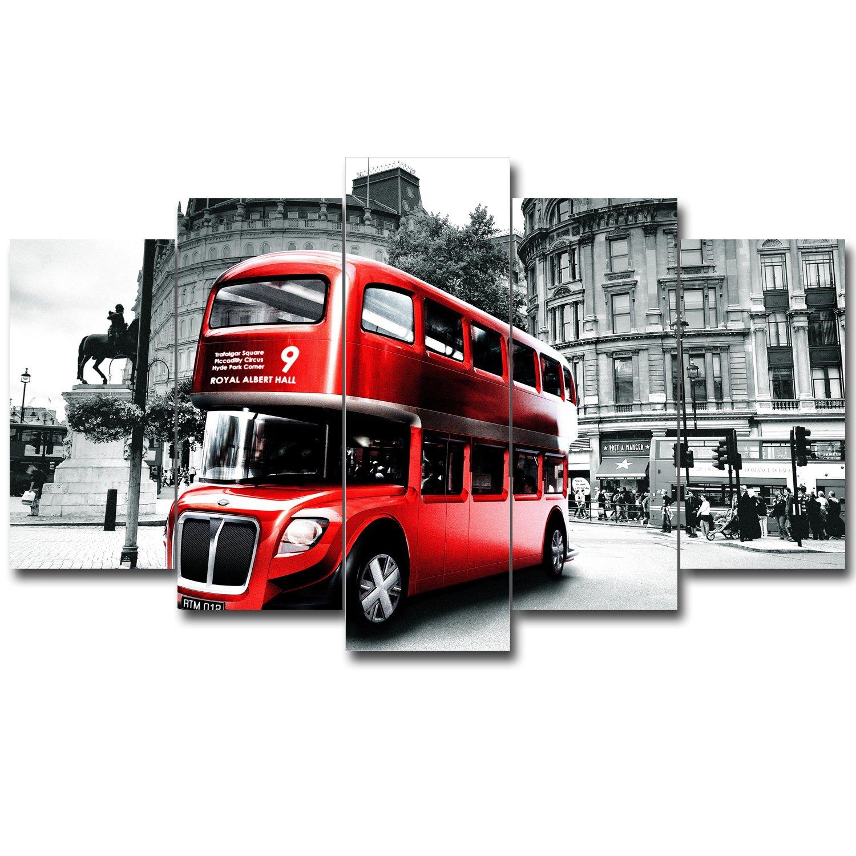 SureArt アートパネル ポスター キャンバス絵画 インテリア モダンアート 大都会 バス 観光バス 5パネルセット B06XWGQFDJ G G