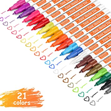 Ibayam Paint Marker Pens Oil Based Extra Fine Point 21 Colors Odorless Expert Of Rock Wood Glass Metal And Ceramic Painting Easter Egg