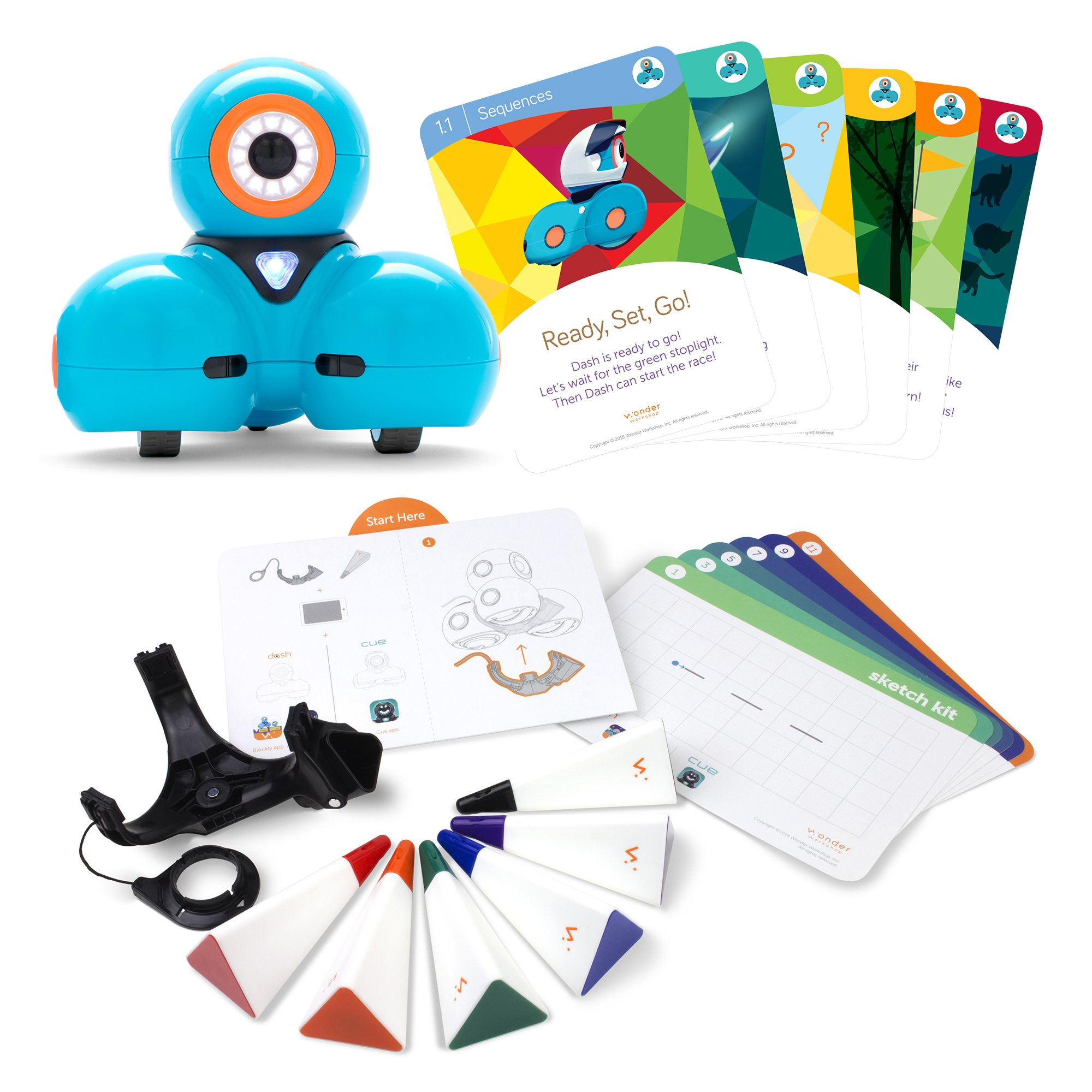 Wonder Workshop – Dash Robot Coding for Kids 6+ – Dash Challenge Cards and Sketch Kit Bundle – (Amazon Exclusive)