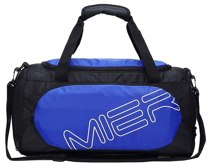 MIER Gimnasio Bolso Sports Duffel para hombres y mujeres con compartimiento de zapatos, 25L,Azul