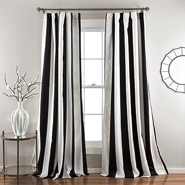 Lush Decor Wilbur Stripe Room Darkening Window Curtain Panel Pair, 108  x 52 , Black, 108  L