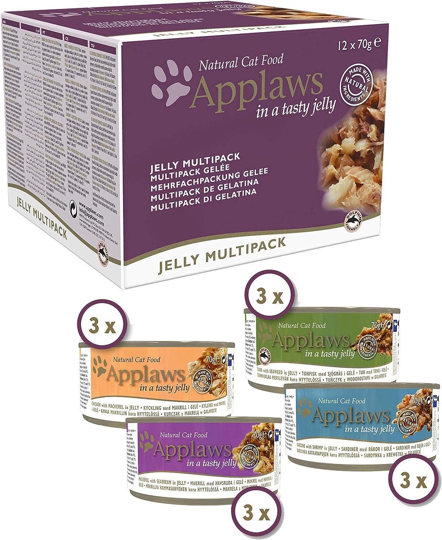 Applaws - Comida húmeda natural para gatos, varios paquetes de pollo y selección de pescado en gelatina, 12 unidades x 70 gr