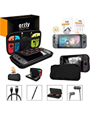 Switch Accessories, Orzly Essentials Pack for Nintendo Switch (Bundle Includes: Glass Screen Protectors, USB Charging Cable, Console Pouch, Cartridge Case, Comfort Grip Case, Headphones) - Black