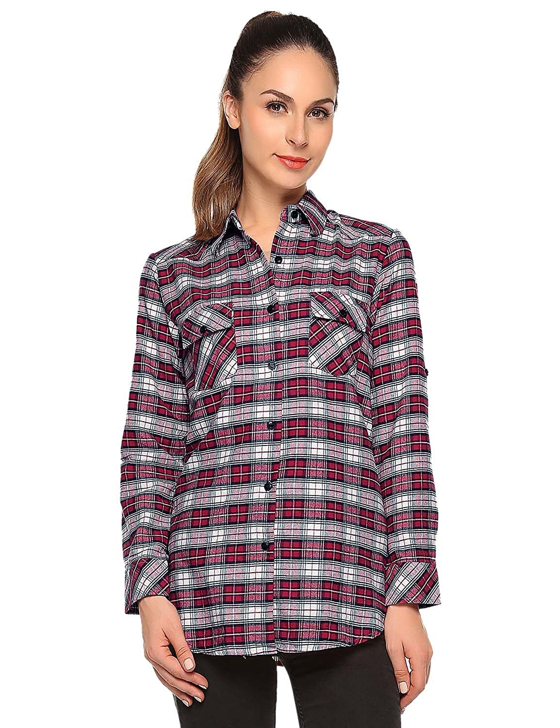 Checks 2 Match Women's Long Sleeve Flannel Plaid Shirt