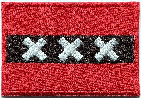 Bandera de Amsterdam de San Andrés de cruz Holland bordado Applique Iron-on Patch. Pasa ...