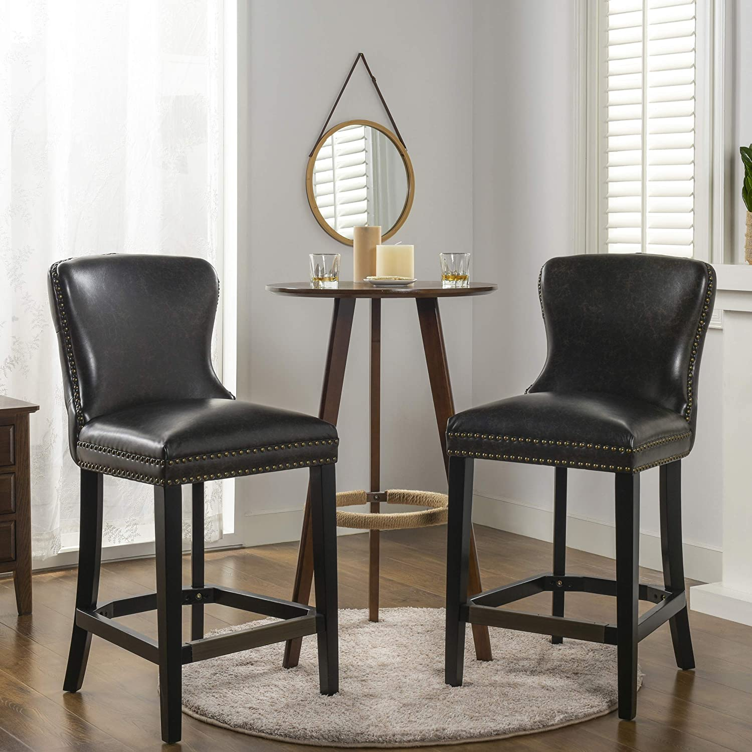 "Jennifer Taylor Home Solano 26"" Leather Bar Stool (Set of 2), Vintage Black"