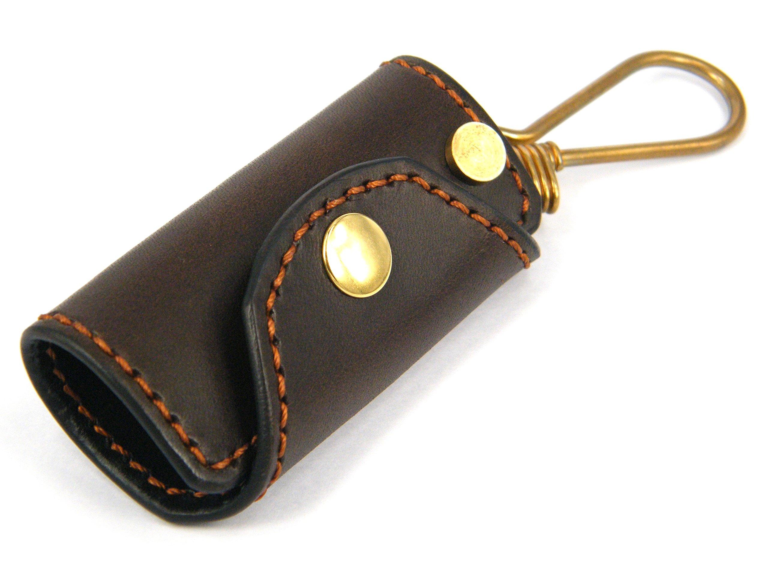 Spiff Leather Handmade Buttero Minimalist Key Case III, Espresso