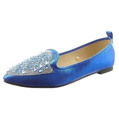 Sopily - damen Mode Schuhe Ballerina Strass - Blau CAT-6-XH961 T 41