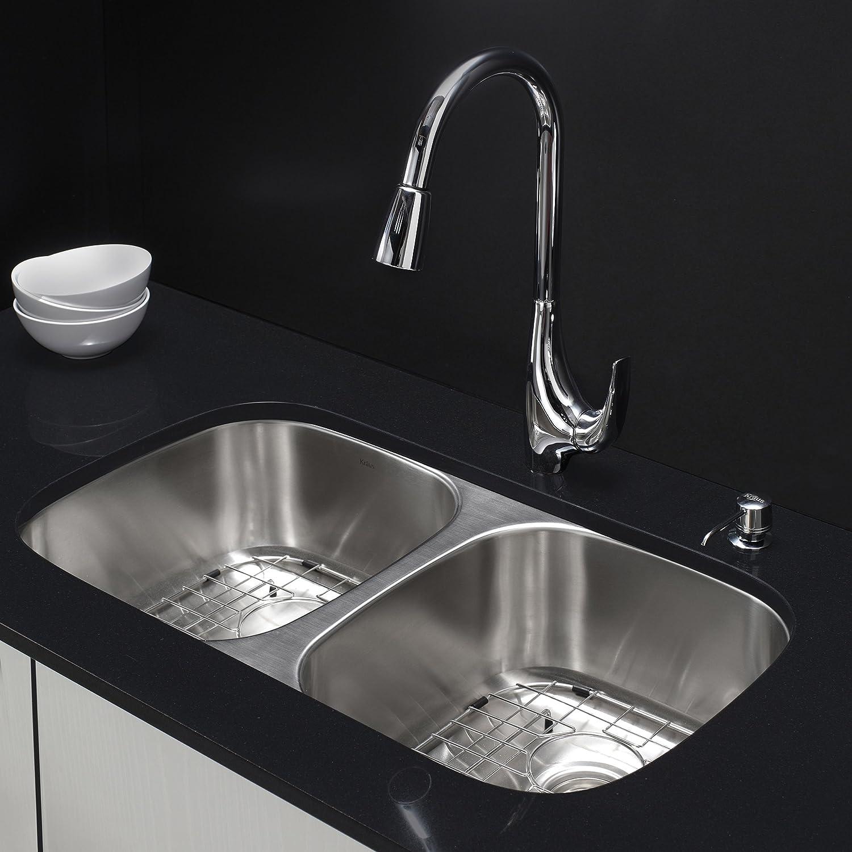 kraus kbu29 32 inch undermount double bowl 18 gauge stainless steel kitchen sink amazoncom