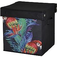 Saklama Kutusu Kapaklı Kırmızı Papağan Desen