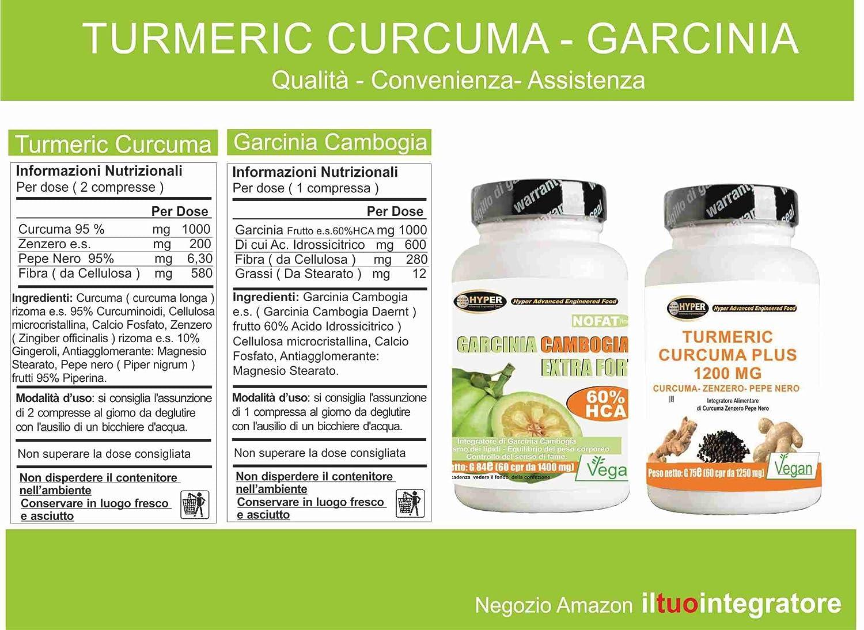 Kit 2 suplementos Turmeric Curcuma 1000 mg Curcumina Piperina Jengibre: extracto seco de cúrcuma de cúrcuma con un contenido del 95% y pimienta negra del ...