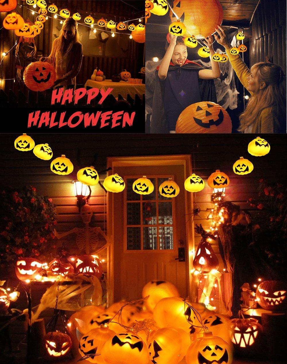 GiBot Halloween Pumpkin Lights Lanterns Orange JX0042 20 LED 6.9 feet Battery Powered Pumpkin String Lights 3D Jack o Lantern Halloween Pumpkin Lights Decor for Indoor Outdoor Party Ideas