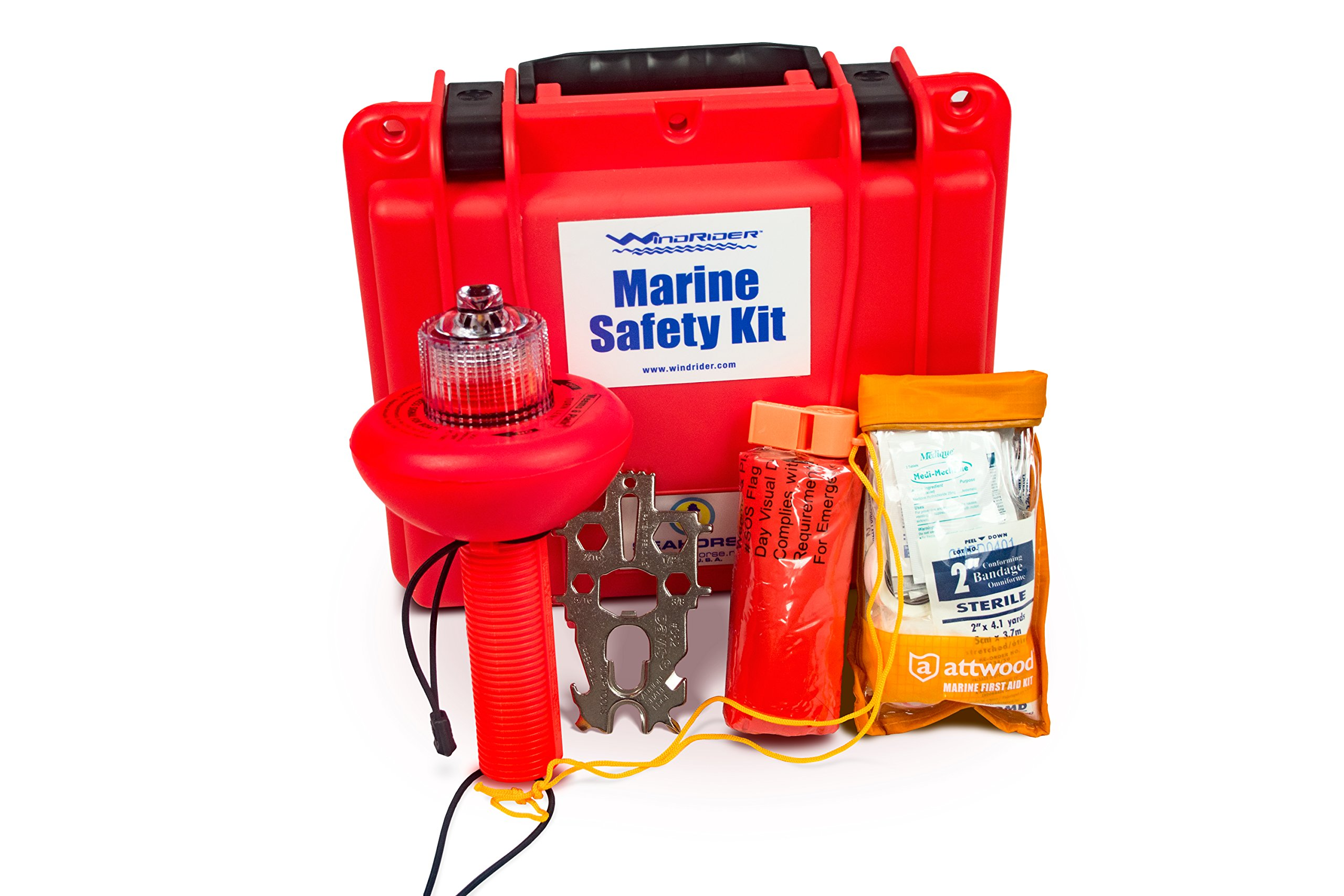 WindRider USCG Boating Safety Kit - Electronic Flare - First Aid Kit - Whistle - Multi Tool - Waterproof Case (Plastic) by WindRider