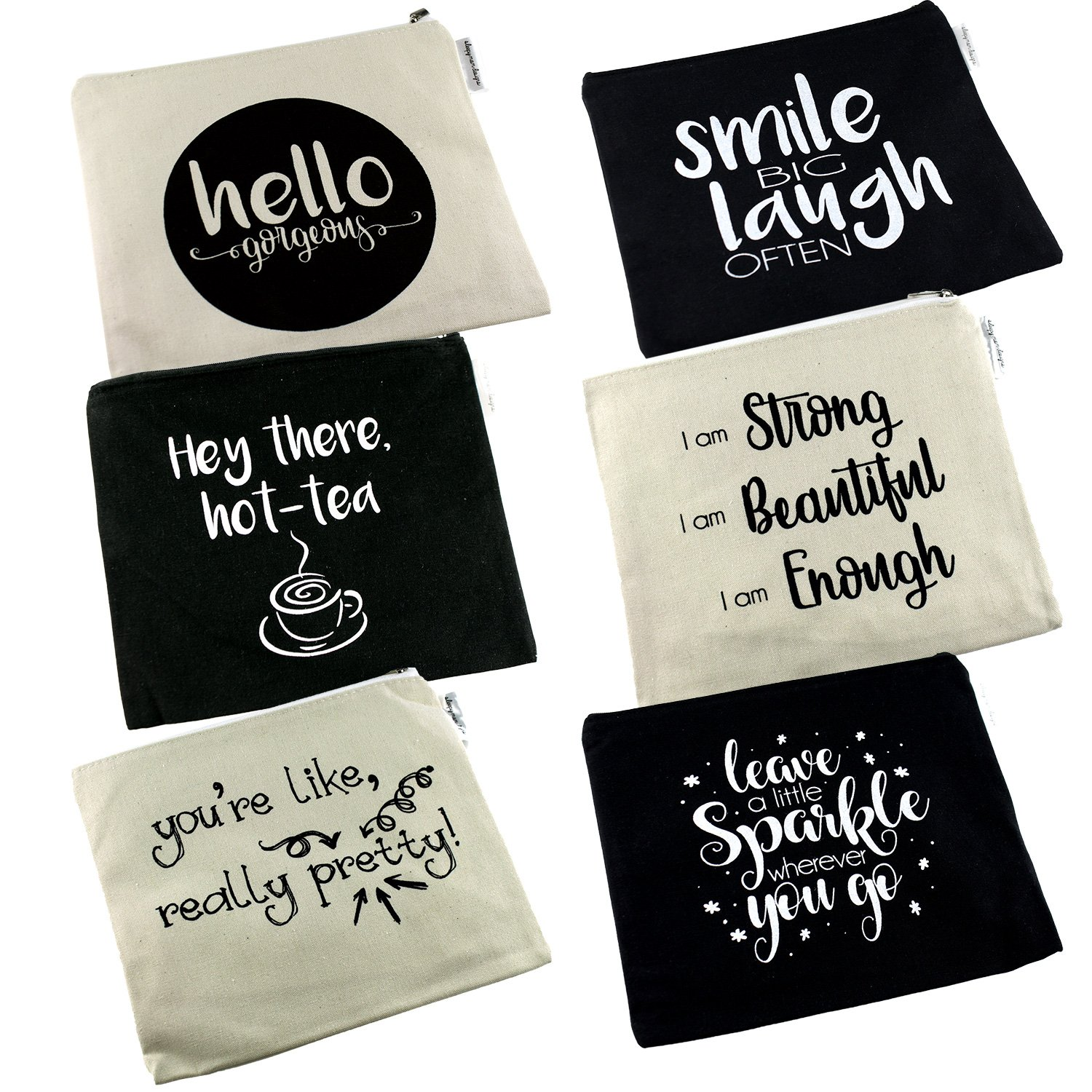 Positive Messages Canvas Cosmetic Bag and Travel Makeup Zipper Pouch Organizer Set For Wedding Bridesmaids or Direct Marketing Gifts 8.5 x 7.5 Inches (6 Pack)