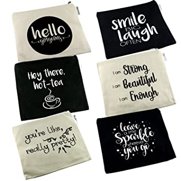 Positive Messages Canvas Cosmetic Bag and Travel Makeup Zipper Pouch  Organizer Set For Wedding Bridesmaids or Direct Marketing Gifts 8.5 x 7.5  Inches