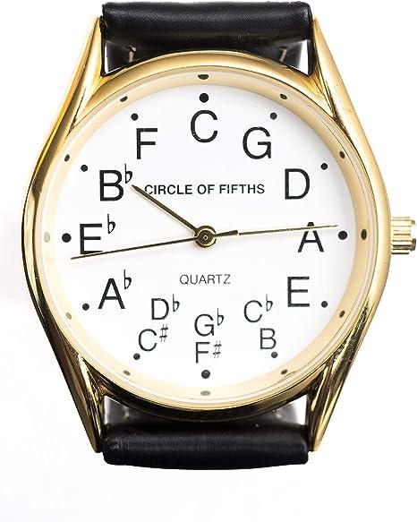 Teoría de la música – círculo de quintas partes reloj para hombres – oro: Amazon.es: Instrumentos musicales
