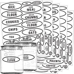 Talented Kitchen Pantry Labels - 164 Contemporary Preprinted Kitchen Label Set. Clear, Water Resistant Stickers, Food Jar Label. Jar Decals for Pantry Organization & Storage (Set of 164 - Contemporary
